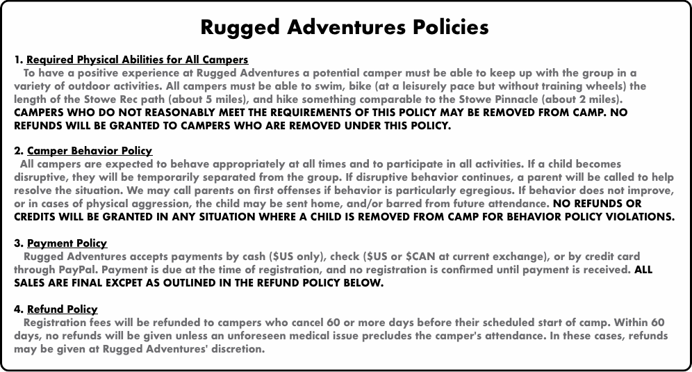 Rugged Adventures Policies